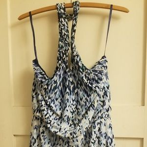 Whbm blue multi print halter dress